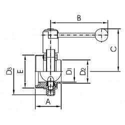 Válvula Mariposa Macho/Soldar AISI 304 DIN